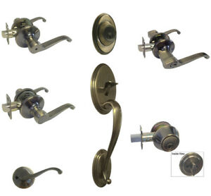 Image Is Loading Antique Brass Door Knobs Lever Keyed Entry Privacy