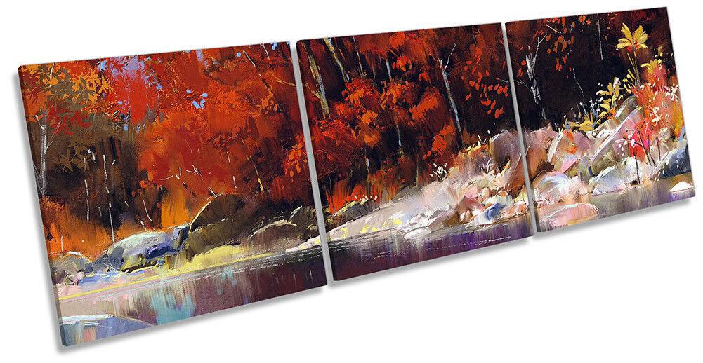Lienzo Enmarcado Bosque Paisaje Río Orange Bosque Enmarcado impresión Triple Pa rojo  Arte e7e53f