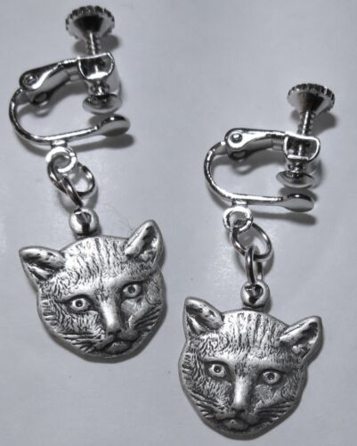 GORGEOUS CAT/'S FACE PEWTER TONE DETAILED HANDMADE EARRINGS SCREW FITTING