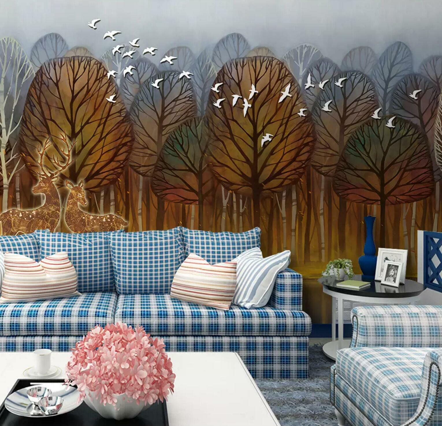 3D Maple Forest 39 Wall Paper Exclusive MXY Wallpaper Mural Decal Indoor