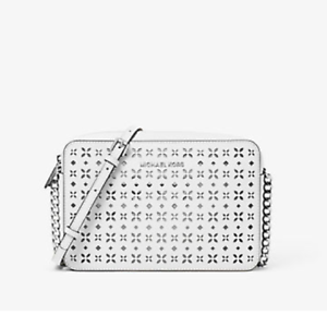 1bf8c5518770 NEW Michael Kors MK Jet Set EW Travel Large Perforated-Leather ...