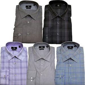 Calvin-Klein-Dress-Shirt-Mens-Slim-Fit-Button-Up-Stripes-Checkered-Cc002-Cc008
