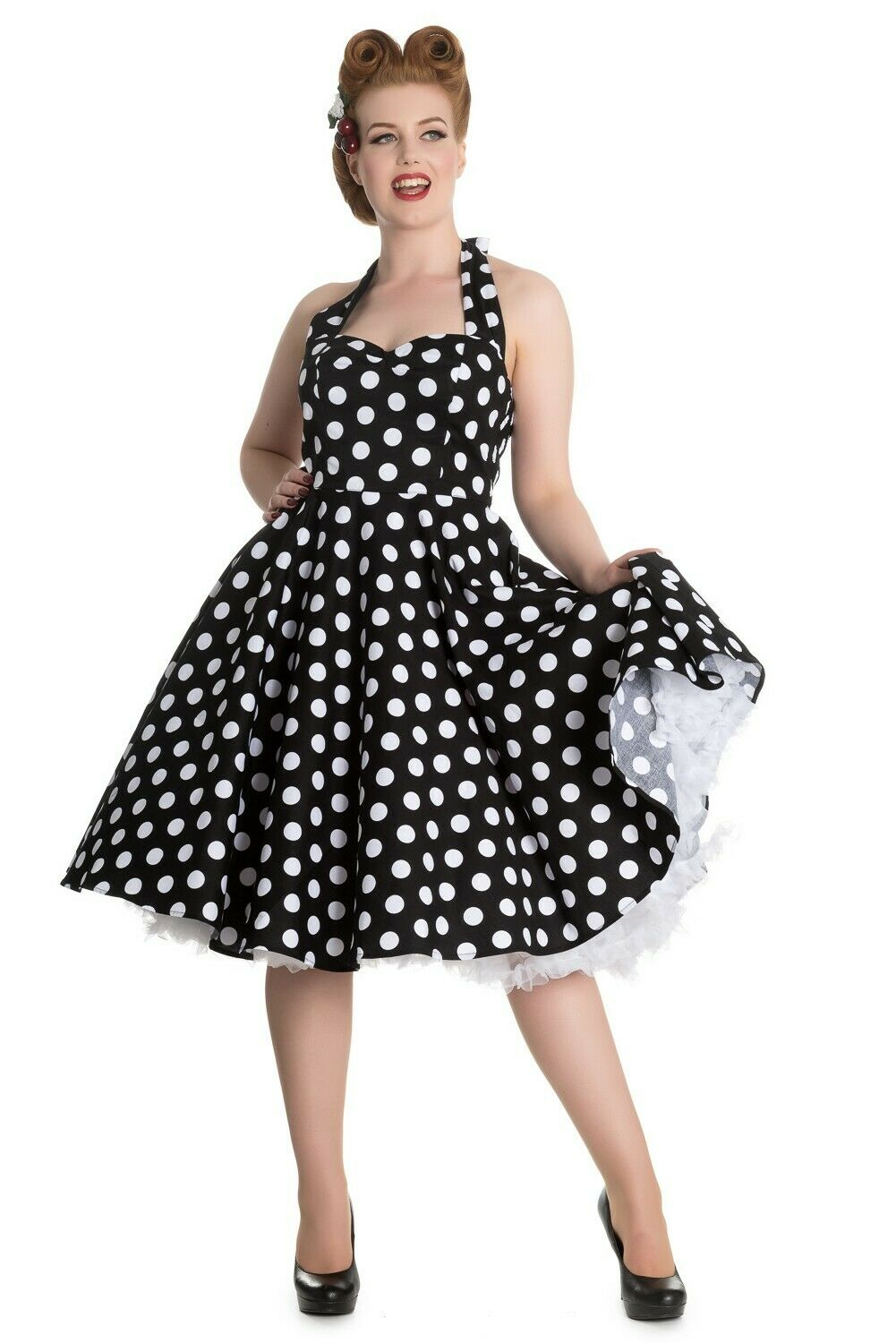 Hell Bunny Mariam Années 50er Polka Dots Swing Jupon Robe Rockabilly PIN UP