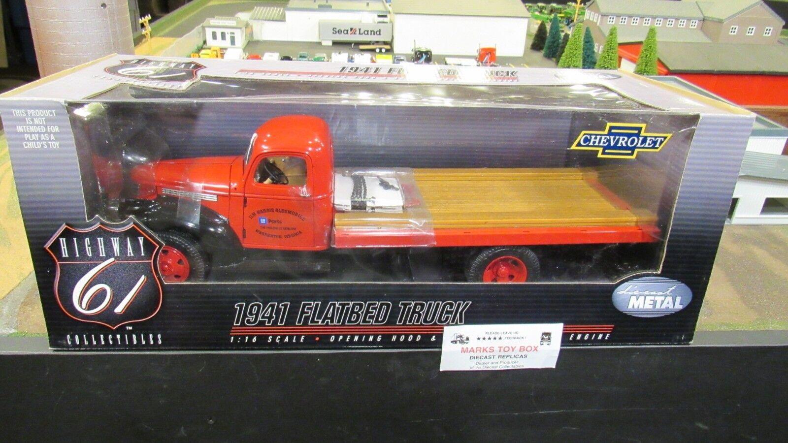 descuento de ventas DCP  60007 Hwy 61 Jim Jim Jim Harris va 1941 Chevrolet Chevy rojo camión de cama plana 1 16 CL  Venta barata