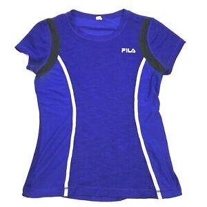Fila-Femmes-Reflechissant-Runner-Chemise-Sec-Manches-Courtes-Taille-M-Gym-Sport