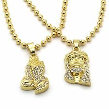 Men Gold Plated Prayer Hand Jesus Piece Combo Iced Out Cz Pendant Chain Necklace