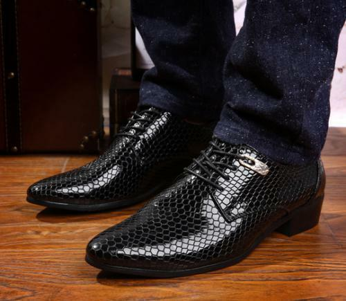 Hot Casual Snake Skin Leather Pointed Toe Lace Up Men's Business Dress shoes rq