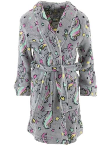 Sweet N Sassy Girls Robe Unicorns Gray Plush Coral Fleece Long Sleeved Bathrobe