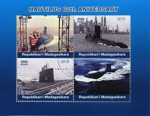 Madagascar 2018 CTO Nautilus 60th 4v M/S Submarines Boats Ships Stamps