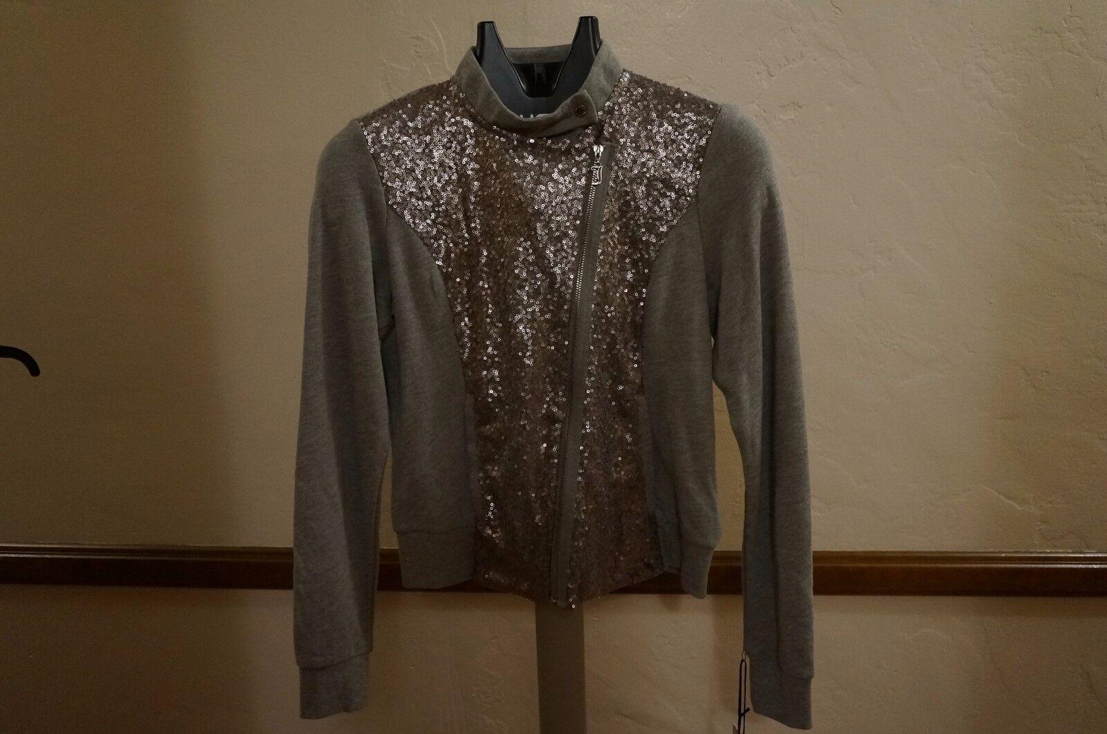 e2a305cc3 Juicy Couture Heather Gray Sequin Bomber Jacket Sz S