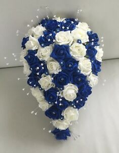 Image Is Loading Artificial Wedding Flowers Ivory Royal Blue Rose Bride