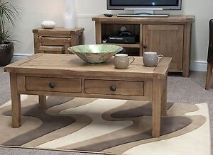 Denver Coffee Table Solid Rustic Oak Living Room Lounge