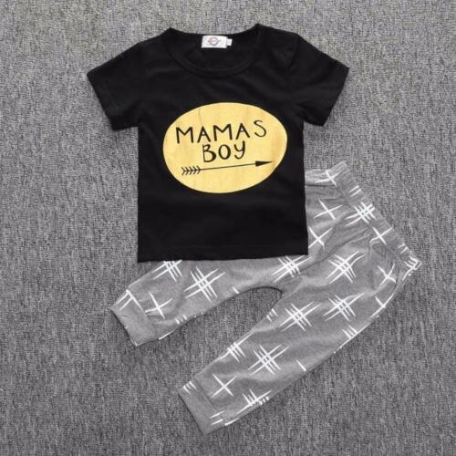 2pcs Newborn Toddler Infant Kids Baby Boy Clothes T-shirt Tops+Pants Outfits Set