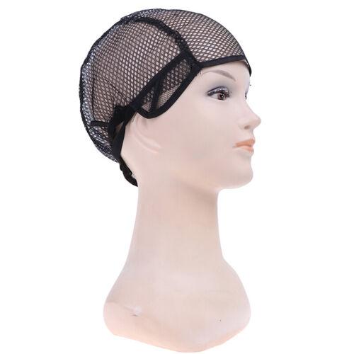 Schwarze Spitze Raster voll Perücke Hut die Perücke Perückengürtel dehnen laZBDE