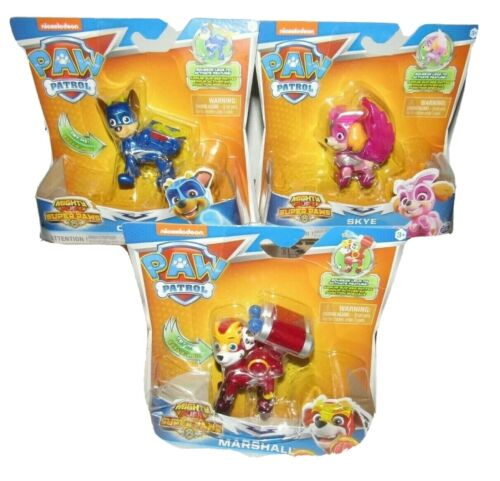 Paw Patrol Mighty Pups Super Paws Figure Lot of 3 Skye Chase Marshall Nick Jr