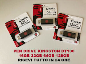 PEN-DRIVE-CHIAVETTA-KINGSTON-DATATRAVELER-DT106-USB-3-0-16GB-32GB-64GB-128GB