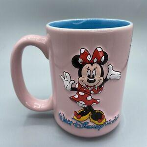 Walt Disney World Minnie Mouse Pink Blue Coffee Mug 16 oz Cup 3D Vintage