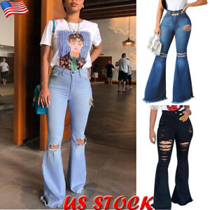 Womens-High-Waist-Skinny-Flare-Denim-Trouser-Ripped-Bell-Bottom-Slim-Jeans-Pants