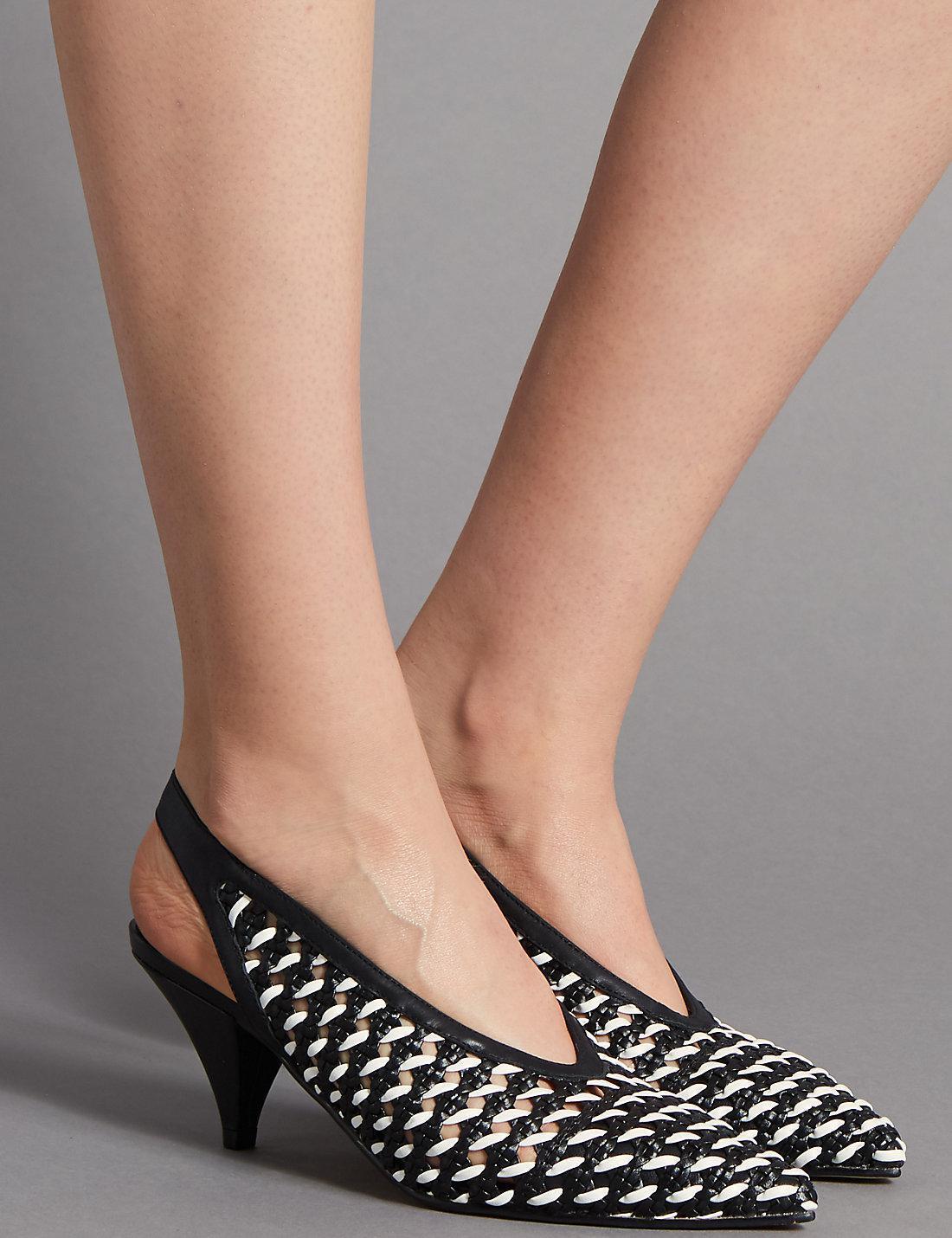 M&S AUTOGRAPH LEATHER SLINGBACK COURT noir blanc chaussures   UK 3 4 5 6 6.5 7