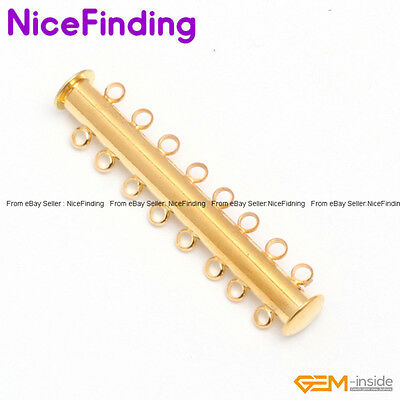 Tube Yellow Gold Plated Clasps 8 Strands 10x46mm Jewelry Making Design Findings