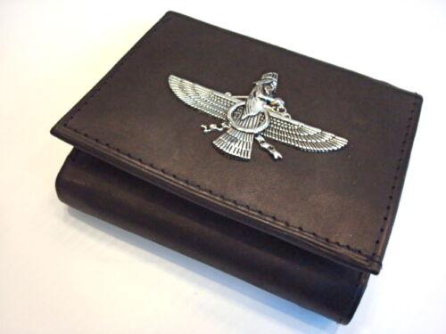 Men/'s Genuine Leather Farvahar Trifold Wallet Persian Art Farohar Persia Gift
