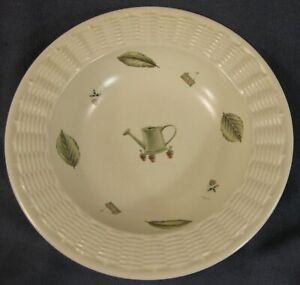 Pfaltzgraff-Naturewood-Large-Serving-Bowl-10-034-Wicker-Trim-Stoneware-USA
