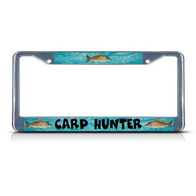 Salmon Hunter Fish Fishing Chrome License Plate Frame Tag Border