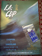 The F.A. Cup Final 1992 Liverpool v Sunderland Programme with Key Ring & Poster