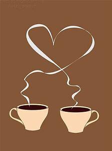 Art Print Poster Pittura Disegno Tazza Di Caffè Amore Cuore Graphic