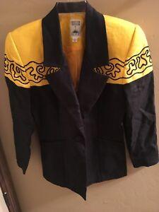 Hairston-Roberson-noir-et-jaune-Western-Blazer-Jacket-Taille-6-Rodeo-Cowgirl