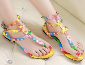 Women Vintage Gladiator Flat Sandals Rainbow Stud Rivet T-Strap Shoes Plus Size