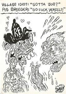 SAVAGE PENCIL - VILLAGE IDIOT / PIG BREEDER- 1986 POSTCARD - GLENN BRAY -