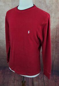 Polo-Ralph-Lauren-Crewneck-Pullover-Red-Thermal-Sleepwear-Shirt-Men-039-s-L