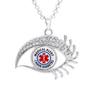 Details about 16mm Medical Alert I have Diabetes Glass Noosa Snap Crystal  Evil Eyes Necklace