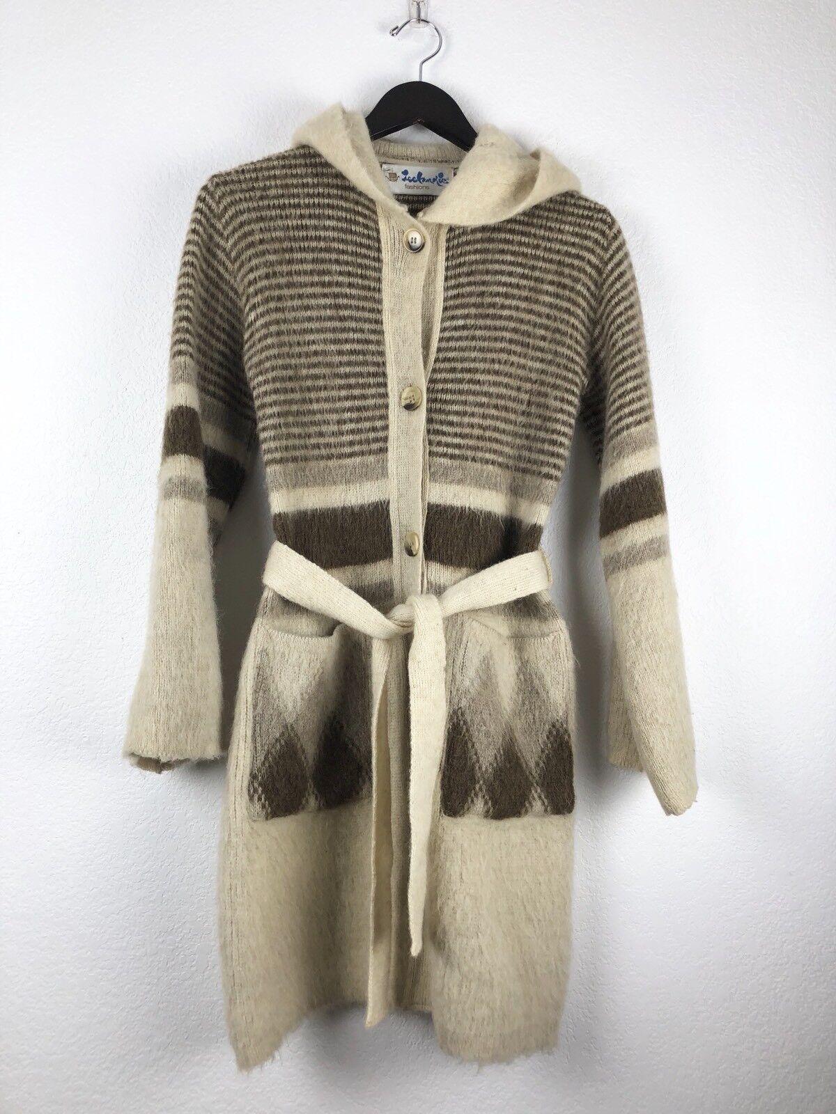 Vintage Icelandic Fashions Women's Sz Medium Arctic Wool Hooded Cardigan Sweater