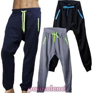 12317aaac6cd6 La imagen se está cargando Pantalones-Largo-Hombre -Chandal-Fitness-Tiro-Caido-Deporte-