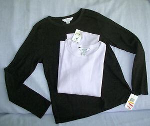lot-2-NAUTICA-sz-S-PJ-pajama-Top-Sleep-shirt-lavender-charcoal-gray-long-sleeve