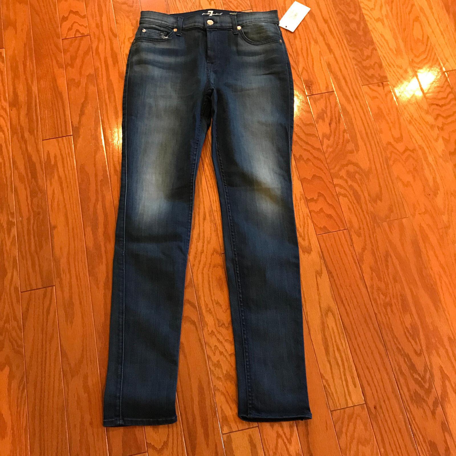 NWT 7 for All Mankind Roxanne mid rise medium wash jeans denim pants 30 slim fit