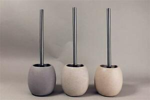 Stone-Ceramic-Bathroom-Soap-Dispenser-OR-Toilet-Brush-amp-Holder-Grey-White-Sand