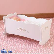 "Baby Doll Cradle American Girl Dolls 18 "" Furniture White Wood Crib Rocking Bed"
