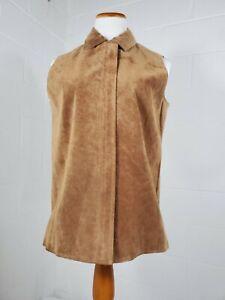 Jessica-Holbrook-Tan-Suede-Leather-Cowgirl-Rockabilly-Vest-Generous-Size-Medium