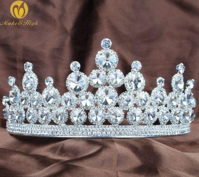 Sparkling Wedding Brides Tiara Headband Round Crystal Pageant Party Hair Jewelry
