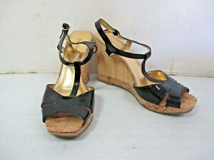 """Women's Shoes - ENZO ANGIOLINI Black Patent T Strap Bamboo Wedge 4"""" Heel Size 7M"""