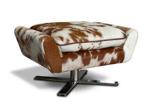Groovy Details About Cow Skin Cow Fur Ottoman Or Real Leather Footstool With Cushion Very Comfortable Theyellowbook Wood Chair Design Ideas Theyellowbookinfo