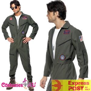 Mens-Top-Gun-Costume-Retro-Men-Aviator-Pilot-1980s-80s-Military-Jumpsuit-Uniform