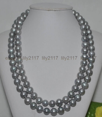 AAAA 10-11 mm ronde naturelle South Sea Gray Pearl Collier 14K environ 88.90 cm 35 in