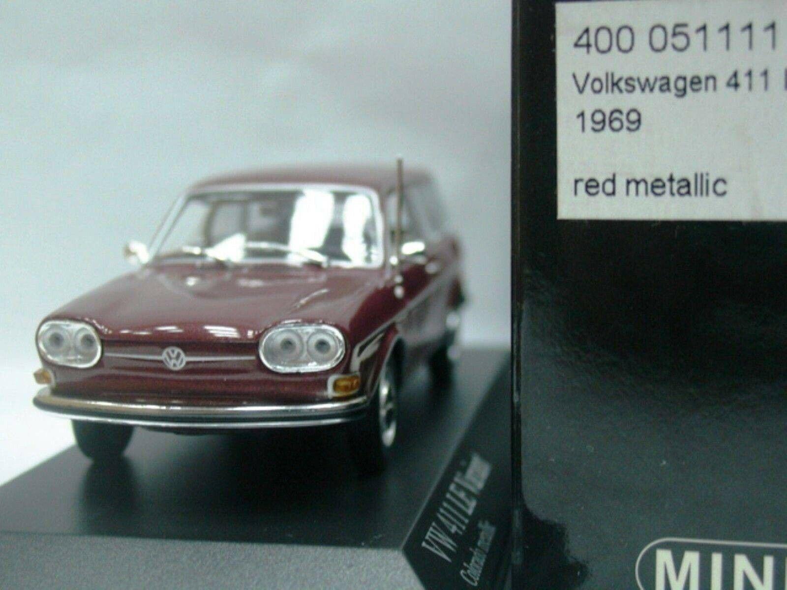 Wow extrêmeHommest rare VW Type 4 411 le variante 1969  Couleurado Rouge 1 43 Minichamps  service attentionné