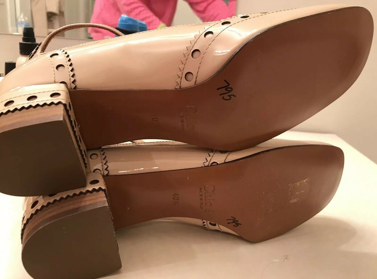 Chloe Perry Beige Beige Beige 10.5 40.5 patente Brogue punta del ala Zapato de correa T Nuevo  795 61eb4c