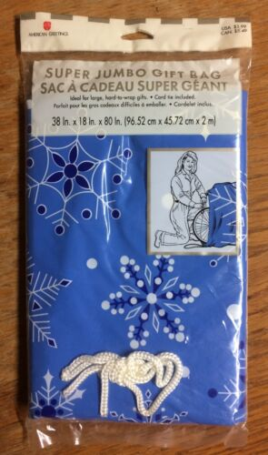 "Qty 1 Christmas Gift Bag GIANT OVER SIZED Bag 36/"" x 80/""  Snowflakes"