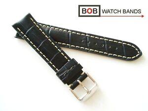 BOB-KALBLEDERUHRBAND-ALLIGATORPRAG-SCHWARZBLAU-Kompatibel-mit-Breitling-20-mm